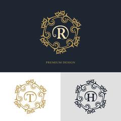 Monogram design elements, graceful template. Calligraphic elegant line art logo design. Letter emblem sign R, T, H for Royalty, business card, Boutique, Hotel, Heraldic, Jewelry. Vector illustration