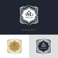 Monogram design elements, graceful template. Calligraphic elegant line art logo design. Letter emblem sign M, T, D for Royalty, business card, Boutique, Hotel, Heraldic, Jewelry. Vector illustration
