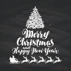 Christmas. Holiday greetings written on black chalkboard. Vector illustration