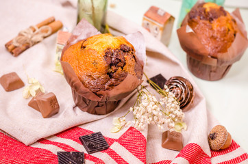 Sweet decoration, chocolate cupcakes and muffins