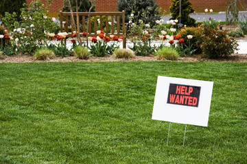 Help Wanted Sign on Grass