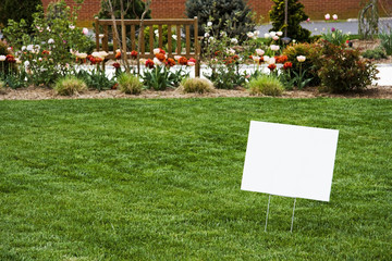 Blank Sign on Grass