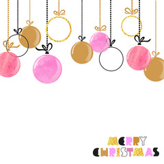 Hanging Christmas balls. Merry Christmas card design in pink and golden colors.