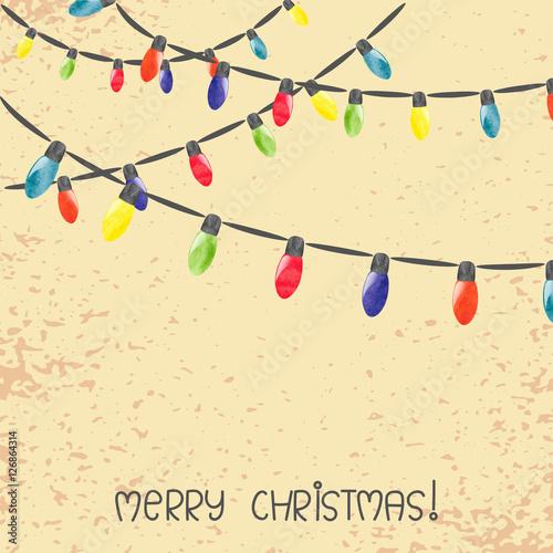 vintage christmas lights vector watercolor illustration stock