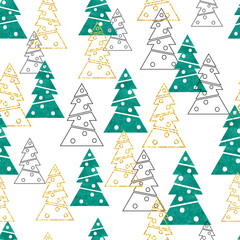 Christmas and New Year seamless pattern with stylized fir trees. Vector holiday background.