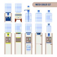 Vector set with water cooler and bottle. Modern flat illustratio
