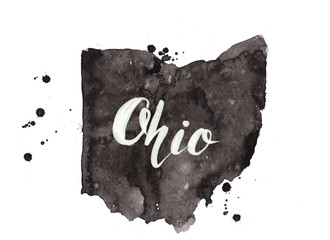 Ohio grunge painted map with lettering. Black dirty illustration
