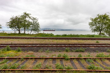 3 Railroad Tracks and a Ship
