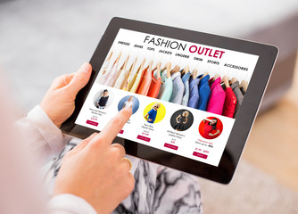Fashion outlet website on tablet