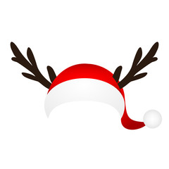 Template for a fun photo of Santa Claus hat and horn Christmas r