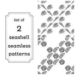 Geometric seamless pattern of seashells