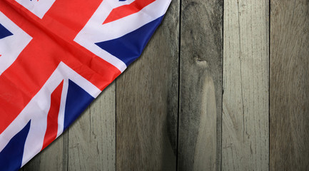 Union Jack United Kingdom Flag with Wooden Background Banner