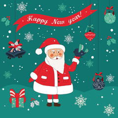 Merry Christmas card in vector.Cute funny Santa Claus and bird. EPS 8