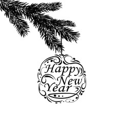 Black and white, realistic branch of fir tree. Greeting inscription Happy New Year. Fir branches. Isolated on white background. Christmas illustration