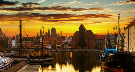 Gdansk at sunset - The historic city in Poland.