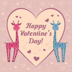 "Funny  vector card with two giraffes on pink background with hearts and text ""Happy Valentine's Day"".  Happy valentine's day card"