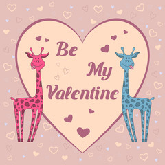 "Funny  vector card with two giraffes on pink background with hearts and text ""Be my Valentine"". Happy valentine's day card"