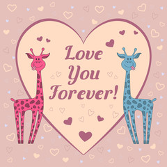 "Funny  vector card with two giraffes on pink background with hearts and text ""love you forever"". Happy valentine's day card"