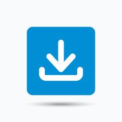 Download icon. Load internet data symbol. Blue square button with flat web icon. Vector
