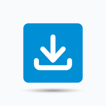 Download icon. Load internet data symbol. Blue square button with flat web icon. Vector