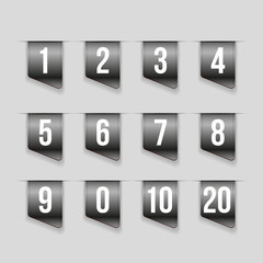 Grey ribbons with number set