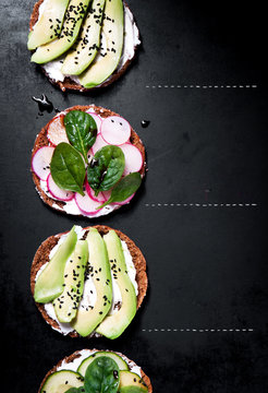 Various healthy vegetarian or vegan sandwiches with different ve