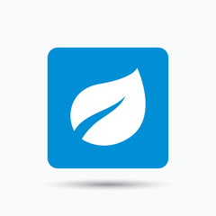 Leaf icon. Fresh organic product symbol. Blue square button with flat web icon. Vector
