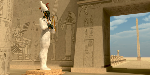 Osiris Statue in Pharaoh Temple - Osiris in Pharaoh's temple was known as an Egyptian god of the afterlife and resurrection.