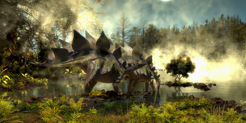 Stegosaurus in Swamp - Stegosaurus dinosaurs come down to a marsh for a drink of water in the Jurassic Period of North America.