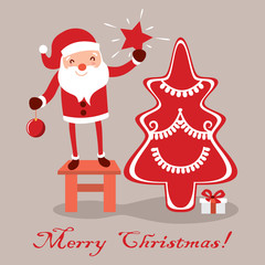 Postcard Santa Claus for Christmas. Characters cute flat. Funny cartoon  with different emotions.   ready  the new year.