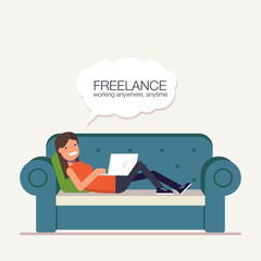 Freelancer girl with a laptop lying on bed. Remote way to work from home or anywhere in the world. Vector, illustration EPS10