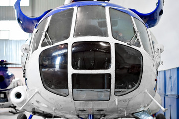 Helicopter fuselage detail in factory