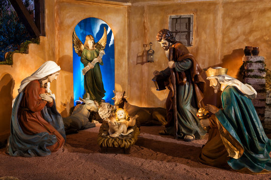 Nativity scene in main square of Valladolid at Christmas, Spain