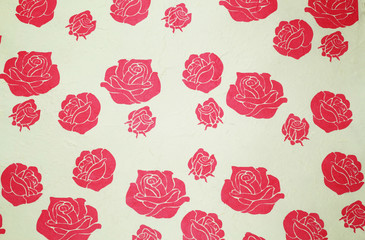 Rose pattern on Handmade paper for Background and texture