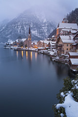 Small village and the lake of Hallstatt, Salzkammergut, Austria
