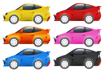Racing cars in six different colors
