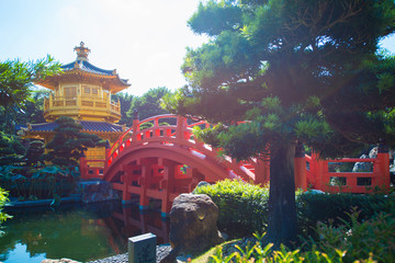 The golden pavilion and red bridge at Nan Lian garden, Hong Kong
