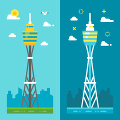 Flat design Sydney tower