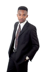 young man wearing suit and tie on white background, business or office worker