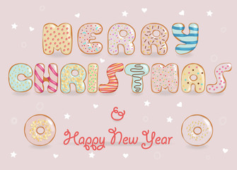 Merry Christmas. Chocolate Donuts font