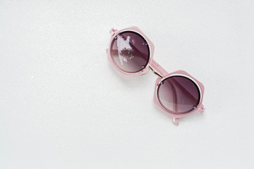 isolated woman pink creative designed sunglasses