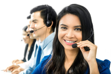 Asian businesswoman  in call center