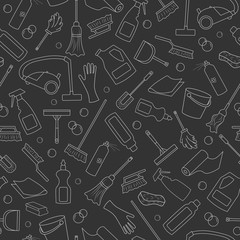 Seamless pattern on the theme of cleaning and household equipment and cleaning products,white  outline on a dark background