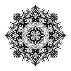 Hand Drawn Henna Abstract Mandala Flowers and Paisley Doodle, antistress for adult Coloring Page for coloring book