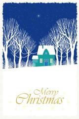 Рождественская иллюстрация с изображением светящейся звезды над домиком среди деревьев.