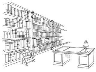 Library room interior black white graphic sketch illustration vector