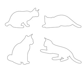 Vector paths of Cats set on the white background