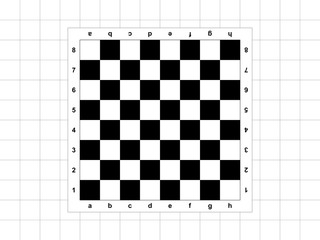 The chessboard on the checkered background