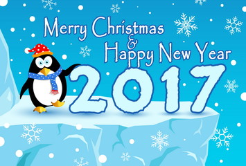 merry christmas and happy new year , with penguin and snow