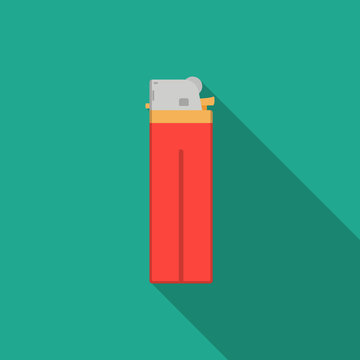 red lighter in flat style with long shadow